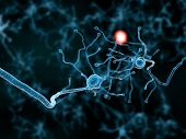 stock photo of neurotransmitter  - Conceptual depiction of two neurons transmitting information through their synapses - JPG