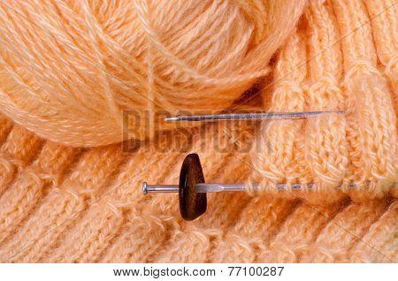 Homemade Knitting Of Pink Yarn