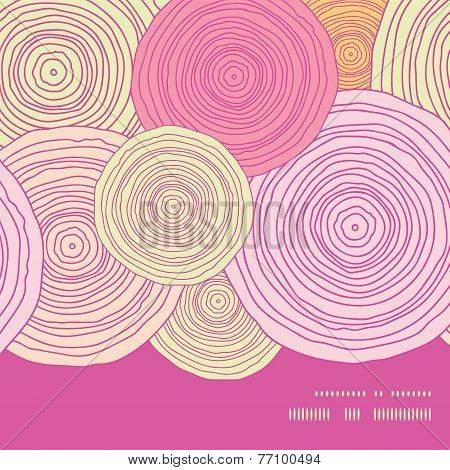 Vector doodle circle texture horizontal frame seamless pattern background