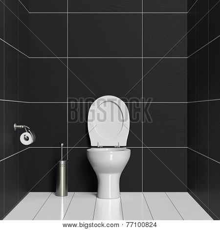 WC interior with toilet and toilet brush with big black tiles (3D Rendering)