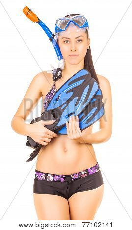 woman standing wearing snorkel standing. isolated