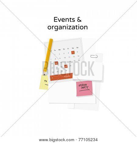 Events & organization - flat design illustration