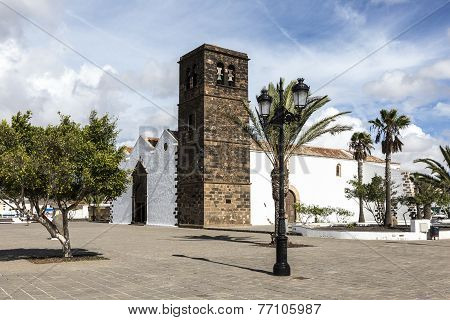 Typical Canary Style White Church Building In La Oliva Village