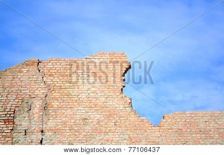Blue Sky And Brick Wall