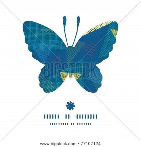 Vector abstract fabric triangles butterfly silhouette pattern frame