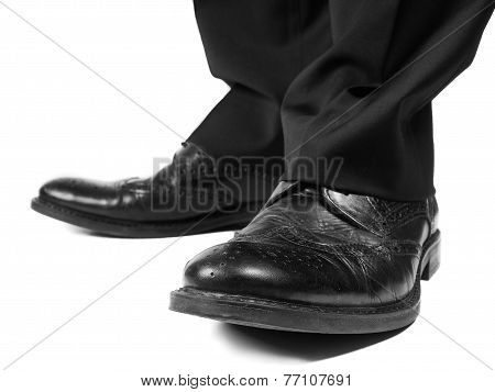 Masculine Suit Wearing Black Shoes