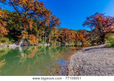 Brilliant Fall Foliage on the Guadalupe River in Texas