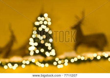 De-focussed Interior Christmas Scene With Raindeer