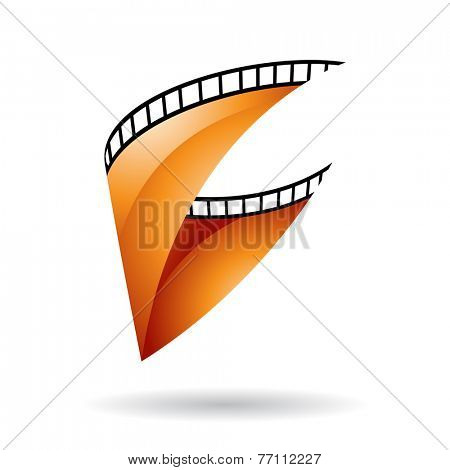 Orange Glossy Film Reel Isolated on a white background