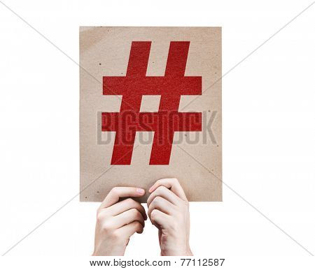 Hashtag Icon card isolated on white background