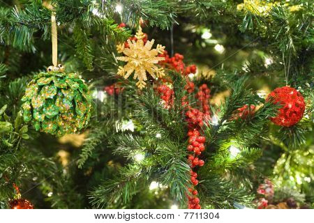 Closeup Of Christmas Tree And Ornaments