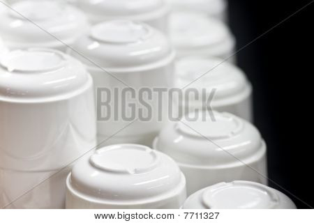 Closeup Of Stacked White Coffee Cups