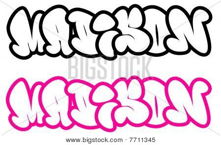 the name Madison in graffiti style funny bubble fonts Stock Photo