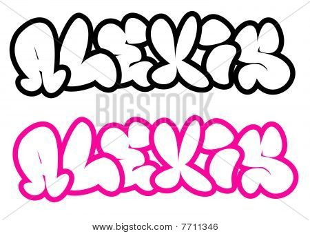 Grafiti   on The Name Alexis In Graffiti Style Funny Bubble Fonts Stock Photo