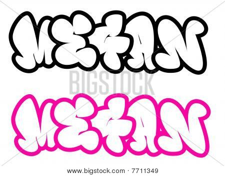 Grafiti  on The Name Megan In Graffiti Style Funny Bubble Fonts Stock Photo