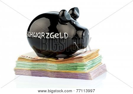 black piggy bank on bank notes, symbolic photo for black money, tax evasion and money laundering