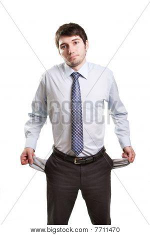 traurig und brach Geschäftsmann mit leeren Taschen