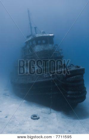 Sunken tugboat