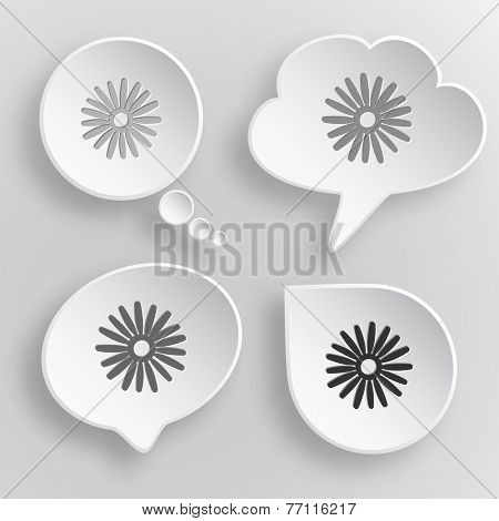 Camomile. White flat vector buttons on gray background.