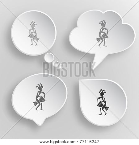 Ethnic little man with drum. White flat vector buttons on gray background.