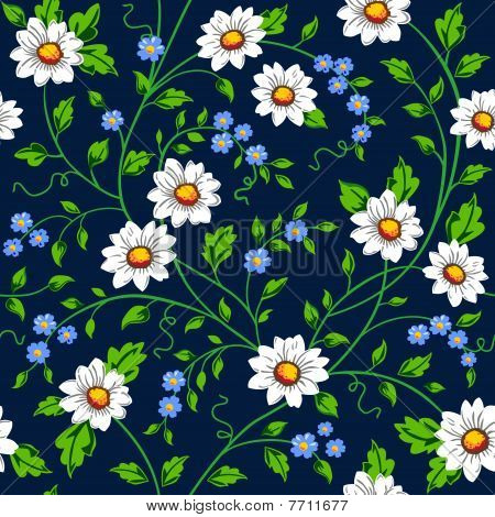 Vector daisy seamless background