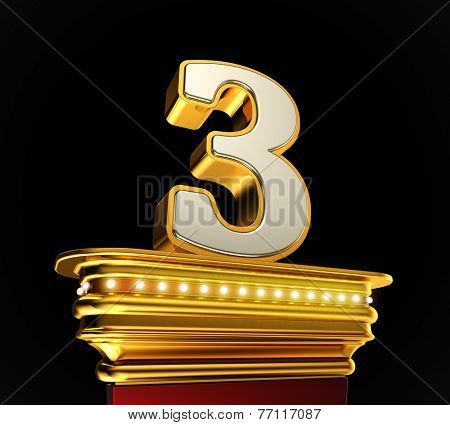 Number Three on a golden platform with brilliant lights over black background