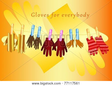 Illustration of the gloves with clothespins