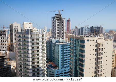 Modern Office Buildings And Hotels Under Construction