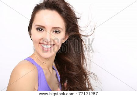 Beauty Girl portrait with long Hair.
