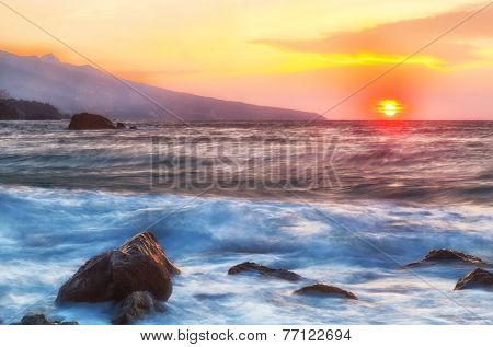 Beautiful landscape with sunrise and big stones the Black Sea
