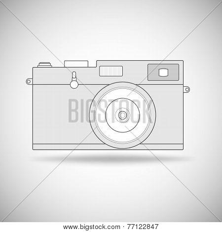 Retro photo camera outline.