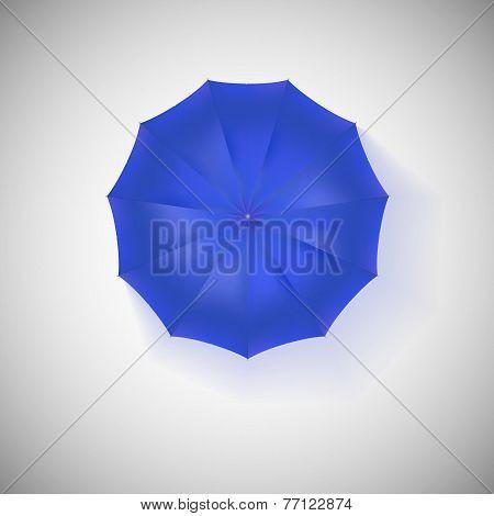 Opened blue umbrella, top view, closeup.