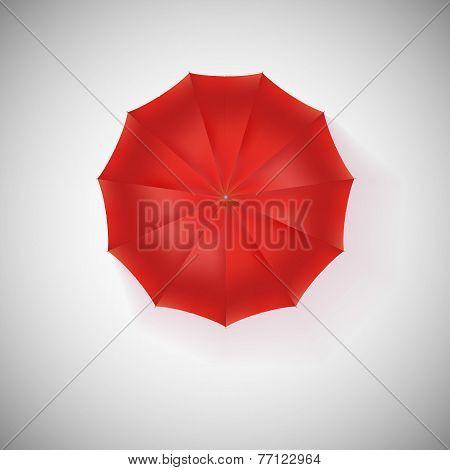 Opened red umbrella, top view, closeup.