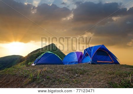 Tourist Camp In A Mountains.
