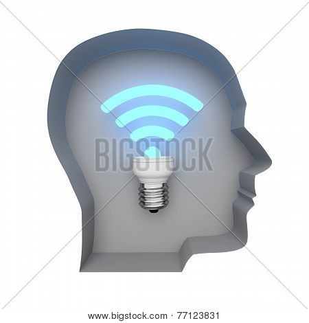 Abstract Image Symbol Wi-fi In The Human Mind . Illustration. 3D