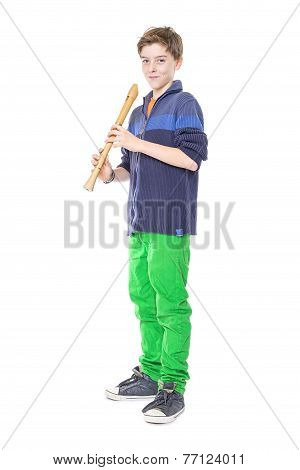 Teenage Boy Holding A Flute, Isolated On White