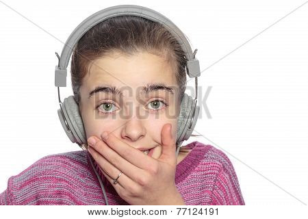 Funny  Embarrassing Touched Teenage Girl With Headphones, Isolated On White