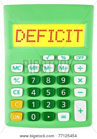 Calculator With Deficit On Display Isolated
