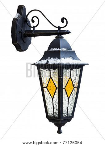 Wall Lamp In The Snow Isolated