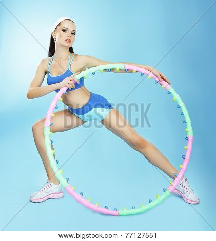 Gymnastics. Fit Woman With Hoop In Fitness Club