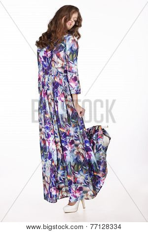 Trendy Woman In Casual Clothes - Classic Silky Dress