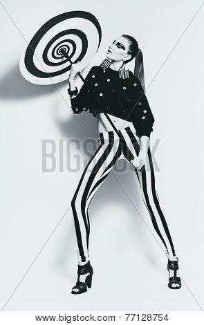 Monochrome Woman In Black Top With Spiral Umdrella