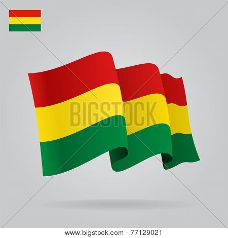 Background with waving Bolivian Flag. Vector