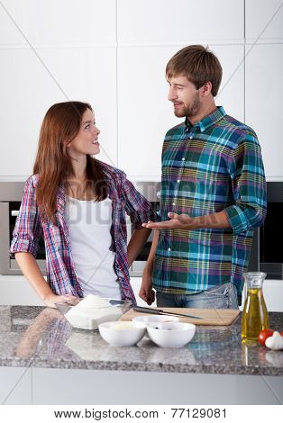 Loved Couple In The Kitchen