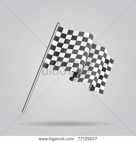 Waving Checkered racing flag. Vector