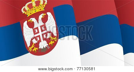 Background with waving Serbian Flag. Vector
