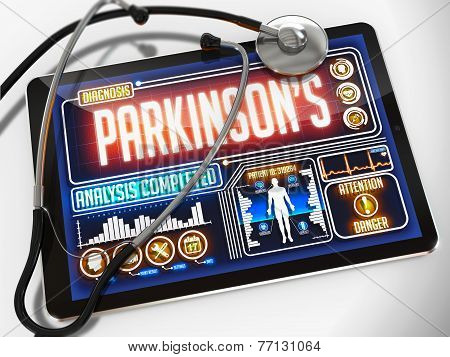 Parkinson's Diagnosis on the Display of Medical Tablet.
