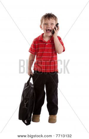 Young Businessman With Phone Laughing