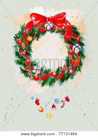 Watercolor background with Christmas garland