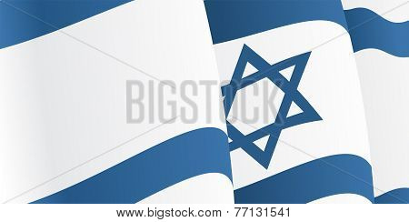 Background with waving Israeli Flag. Vector